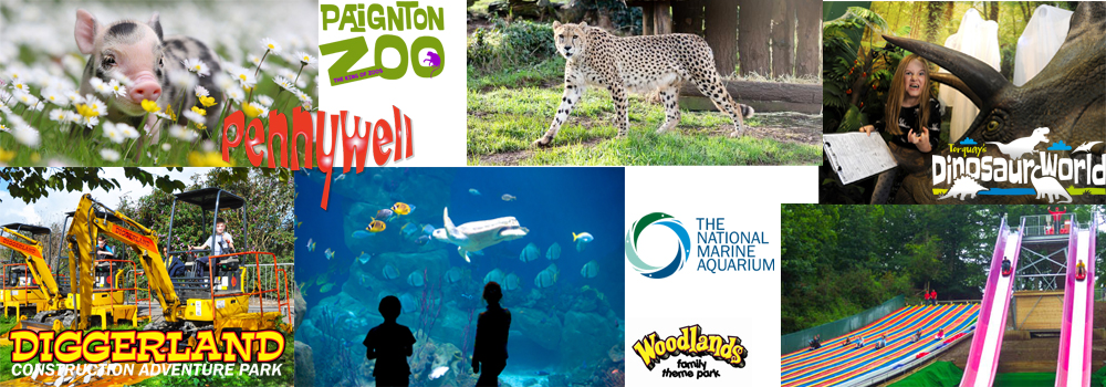 Photo of all the attractions available for families and children in South Devon