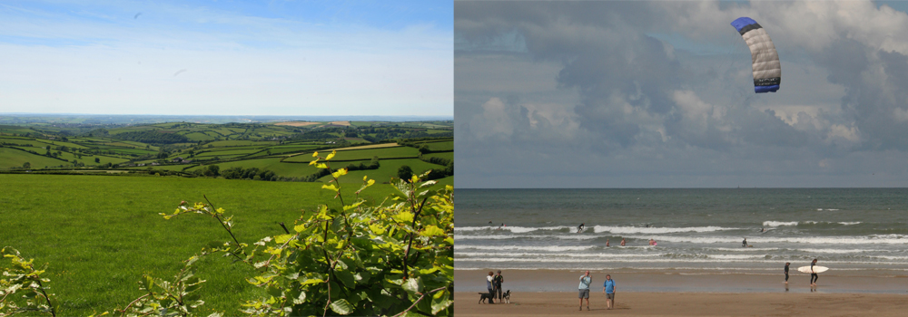 Saunton Sands beach and a beautiful countryside shot of Exmoor