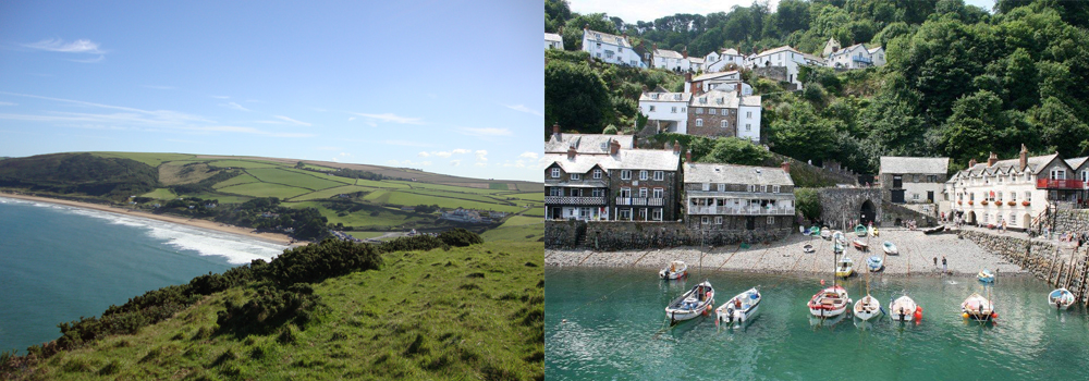 Explore the harbour towns such as clovelly and Ilfracombe while walking the South West Coast path in Devon.